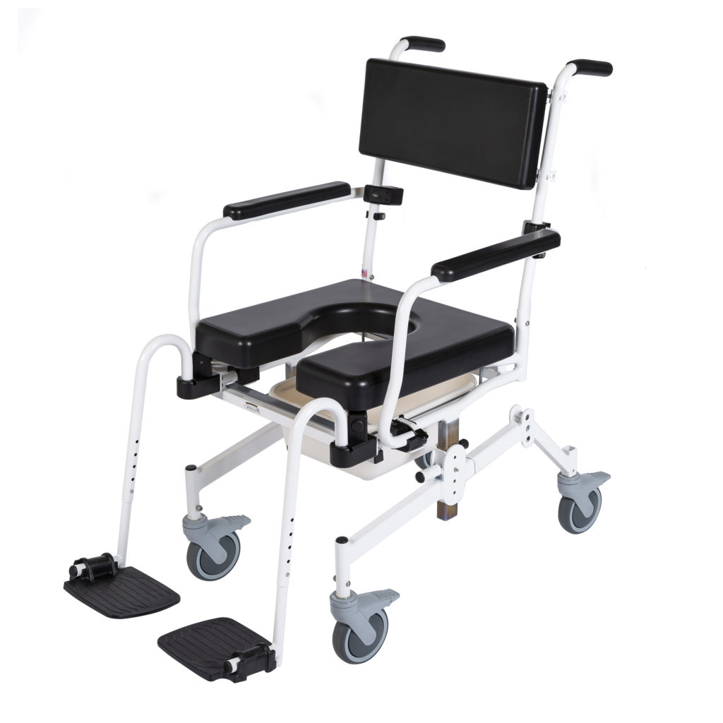1100  Rehab Shower/Commode Chair – Seat Height/Slope Adjustable  Weight capacity: 350 lbs  Frame width(s): 18″, 20″, 22″  Seat width & depth(s): 18″x18″, 20″x18″, 22″x18″  Wheel/Caster sizes: Rear: 24″ wheels or 5″ casters;  Front: 5″ casters