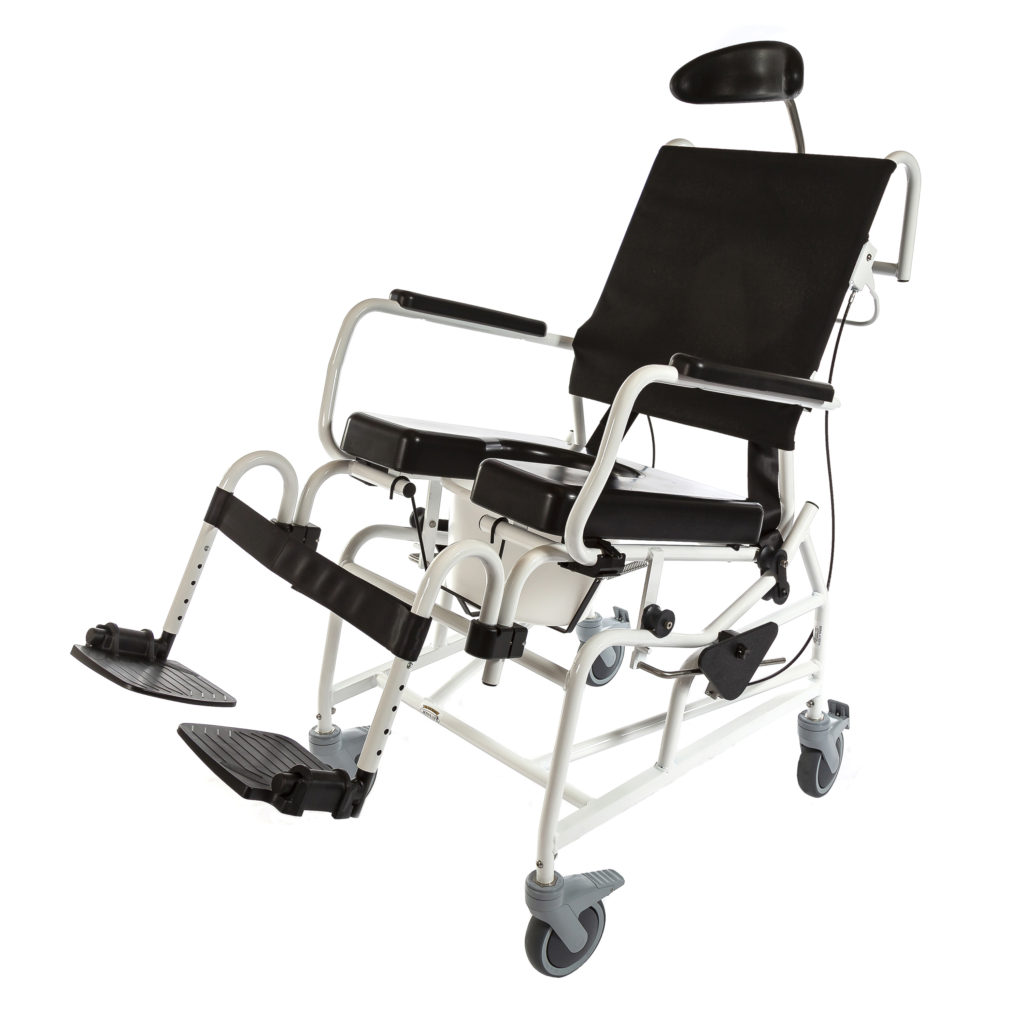 285  Rehab Shower/Commode Chair – Tilt  Weight capacity: 350 lbs  Frame width(s): 16″,18″, 20″, 22″  Seat width & depth(s): 16″x18″, 18″x18″, 18″x20″, 20″x18″, 20″x20″, 22″x18″, 22″x20″  Wheel/Caster sizes: Front: 5″ casters