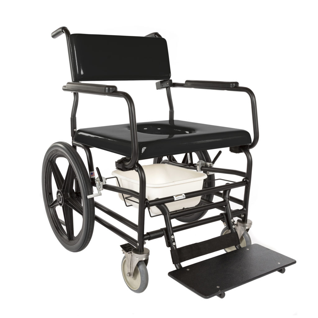 720  Bariatric Rehab Shower/Commode Chair  Weight capacity: 600 lbs  Frame width(s): 20″, 22″, 24″, 26″, 28″, 30″  Seat width & depth(s): 20″x20″, 22″x20″, 24″x20″, 26″x20″, 28″x20″, 30″x20″  Wheel/Caster sizes: Rear: 20″ or 24″ wheels, or 6″ casters;  Front: 6″ casters