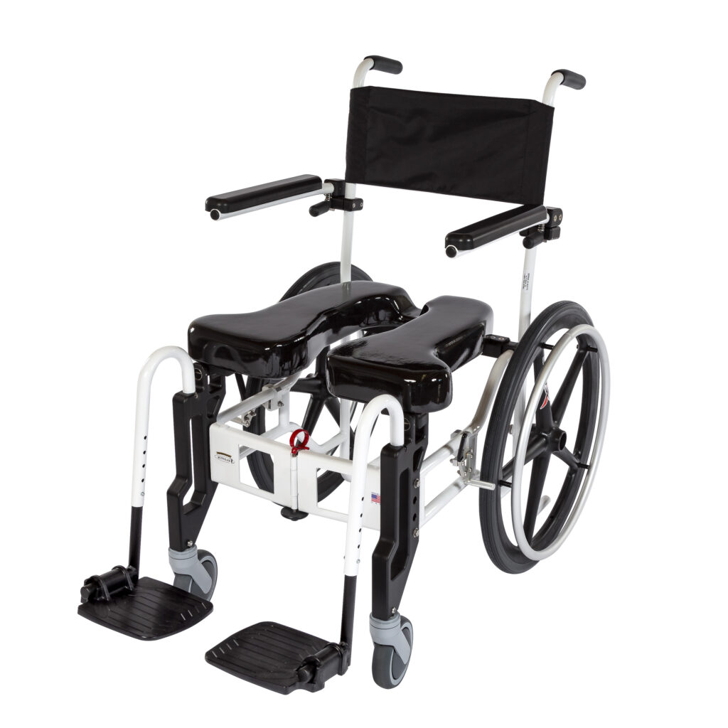 922  Rehab Shower/Commode Chair – Folding  Weight capacity: 350 lbs  Frame width(s): 18″  Seat width & depth(s): 18″x18″  Wheel/Caster sizes: Rear: 22″ or 24″ wheels;  Front: 5″ casters