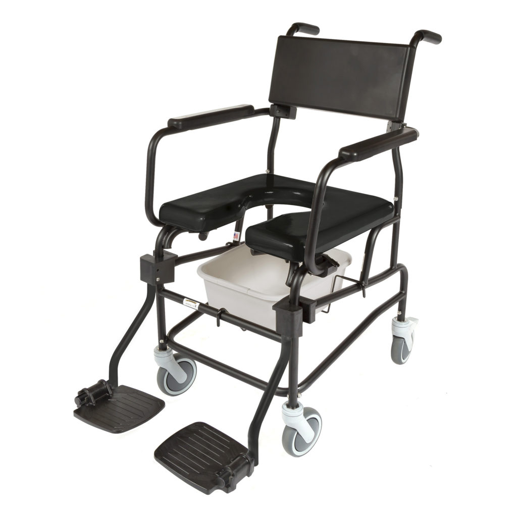 600  Adult Rehab Shower/Commode Chair  Weight capacity: 350 lbs  Frame width(s): 18″, 20″, 22″  Seat width & depth(s): 18″x18″, 18″x20″, 20″x18″, 22″x18″  Wheel/Caster sizes: Rear: 20″ or 24″ wheels, or 5″ casters;  Front: 5″ casters